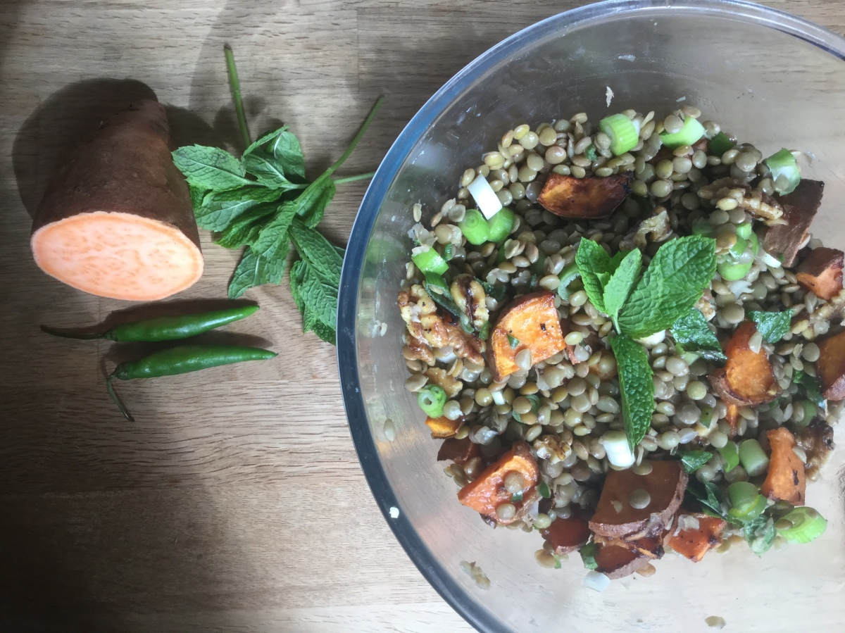 Tamarind Roasted Sweet Potato, Green Lentil, Chilli & Mint Salad