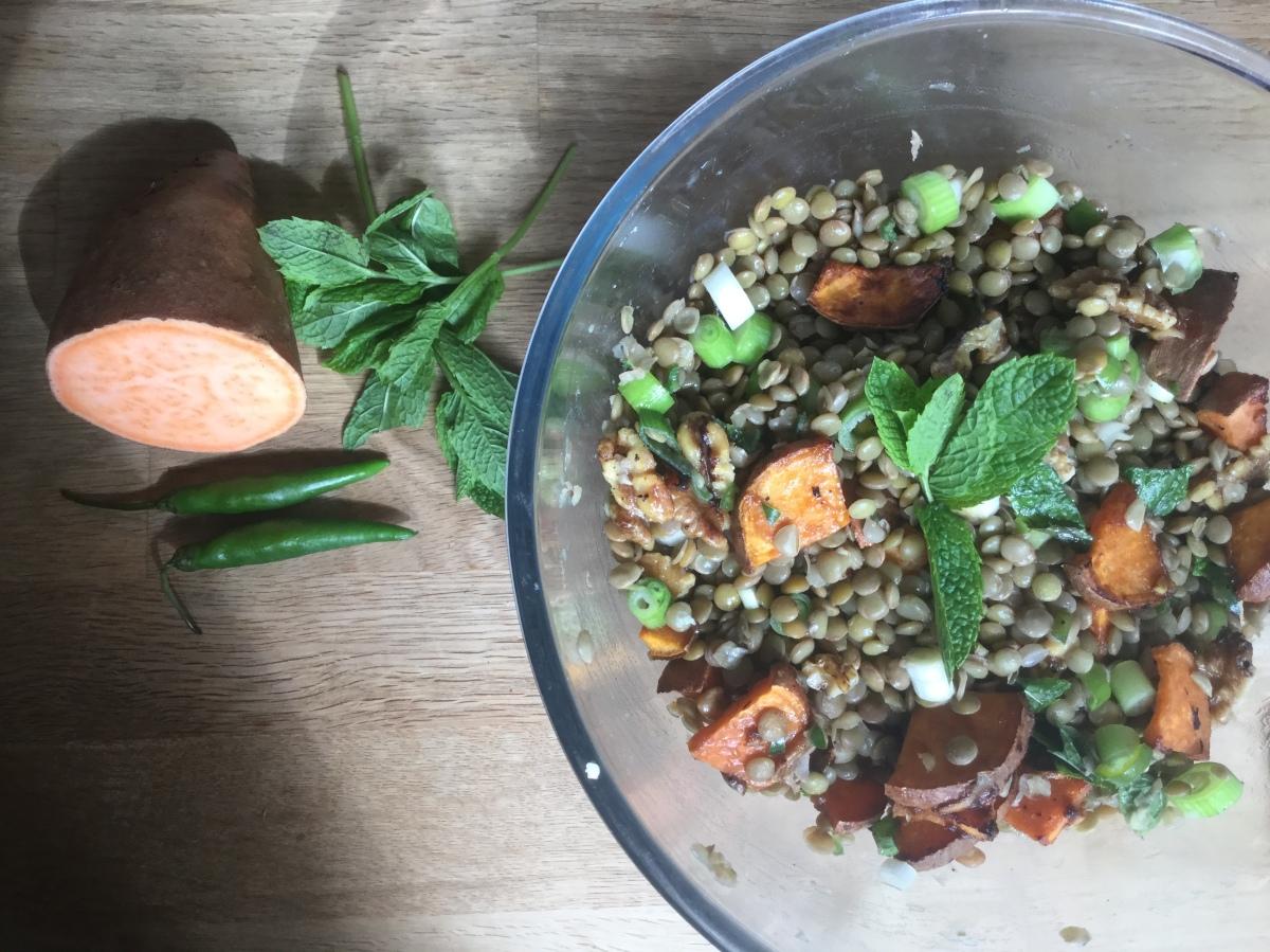 Tamarind Roasted Sweet Potato, Green Lentil, Chilli & MintSalad