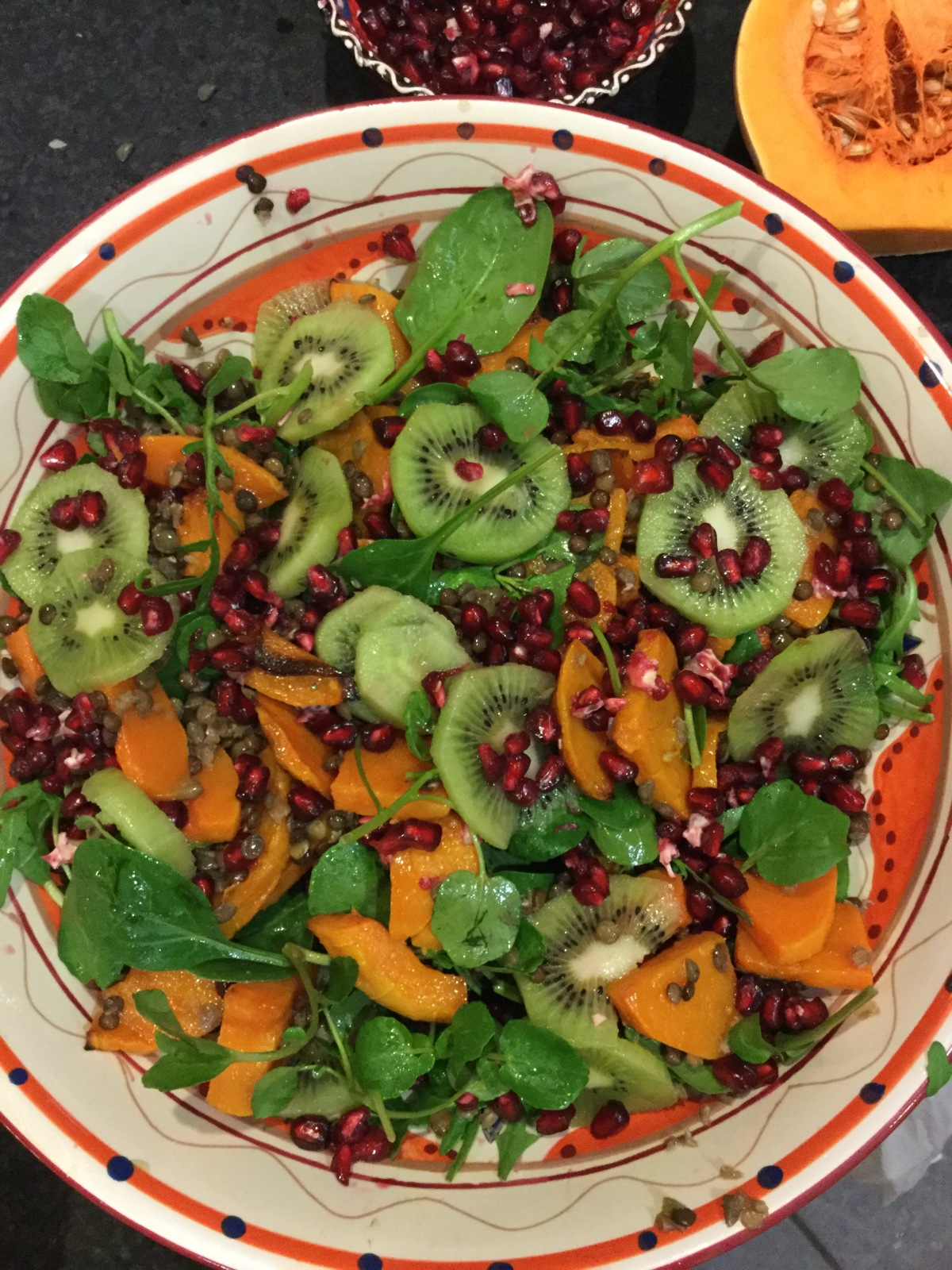 Roasted Butternut Squash, Kiwi Fruit & Pomegranate Salad (Vegan)